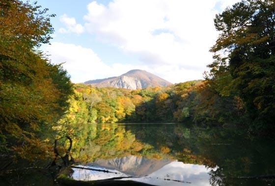 秋の十二湖の日暮の池