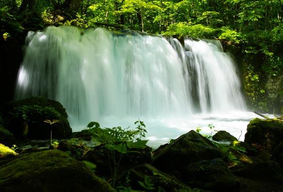 夏の奥入瀬渓流の銚子大滝